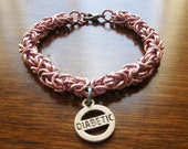Diabetic Bracelet for a Girl Pink Anodized Aluminum Chainmaille With Charm