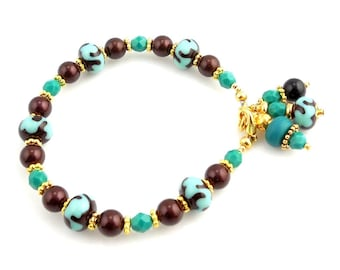 Maroon and Turquoise Color Crystal Lampwork Beaded Bracelet, Fashion Jewelry, Glass Bead Bracelet, Lampwork Jewelry, Gifts, Charm Bracelet