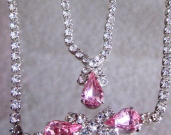 Vintage Pink Tear Drop Rhinestone Necklace and Tear Drop Rhinestone Bracelet Set in Silver Tone, October Birthday Set, Prom Set, Wedding