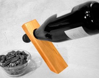 Balancing wine stand, gravity defying wine bottle holder, winerack, wood wine stand, magic wine rack, standing wine rack, bottle holder