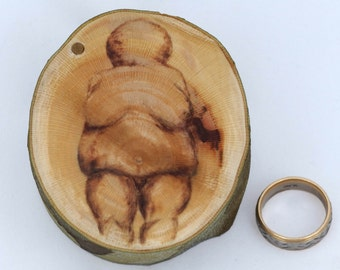 "Earth Mother ring box 1 5/8"" chamber natural Sycamore wood, ring bearer box, Mother Nature engagement ring box, Mother Goddess, Mother Earth"