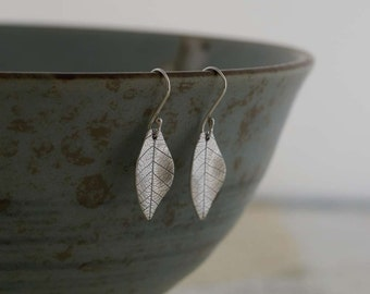 Silver Leaf Skeleton Earrings    Handmade Recycled Silver Clay Earrings    PMC Silver Clay Leaf Earrings