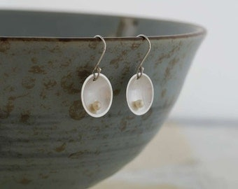 Silver Freshwater Pearl Dome Earrings    PMC Fine Silver Clay Jewelry    Handmade Recycled Silver Earrings