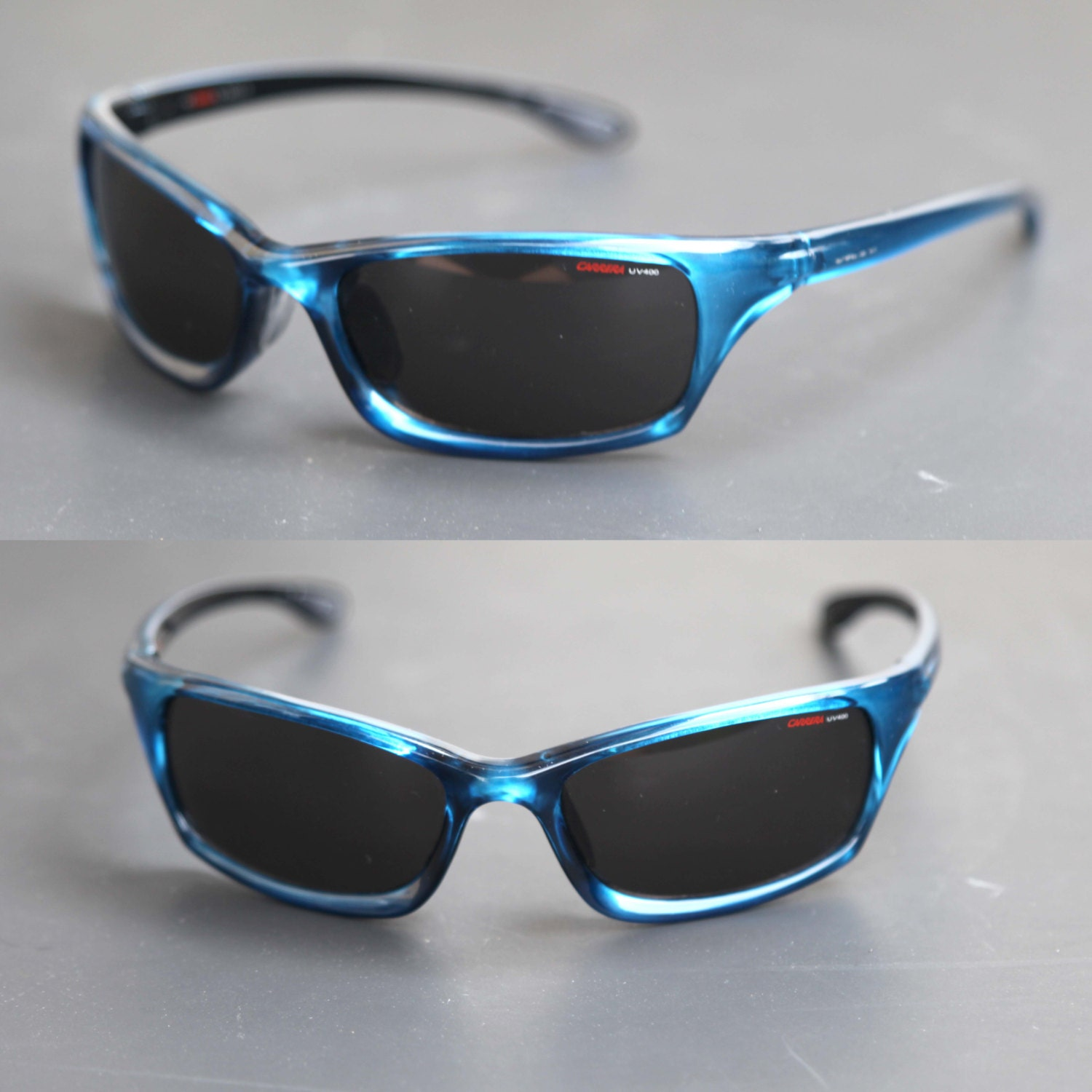 sports glasses for men  Vintage 90s CARRERA UV 400 Sports Wrap Blue Sunglasses High