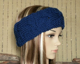 Knitted Headband, Chunky Cable Womens Ear Warmer, Wool Head Wrap, Navy Hippie Hair Wrap Turban, Womens Gift