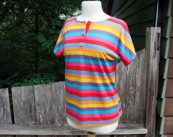80's Mondi Tee Rainbow Stripe West Germany