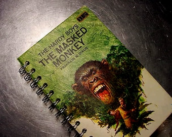 HARDY BOYS JOURNAL Masked Monkey Vintage Altered Book Notebook