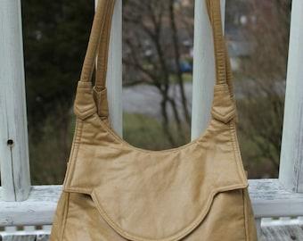 Vintage Caramel Faux Leather 80s Shoulder Bag