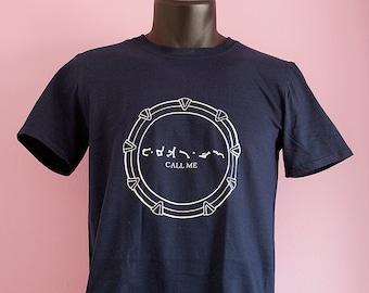 "Stargate SG1 ""call me"" chevron T-shirt - unisex - geeky nerdy sci-fi gift for boyfriend or dad - original stargate fan series"