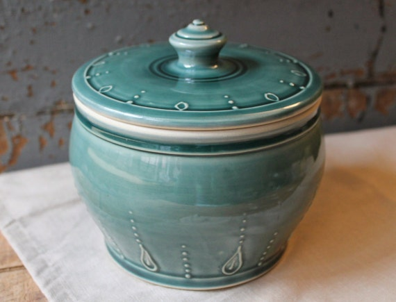 lidded jar compost jar canister dog treats by dandelionpottery