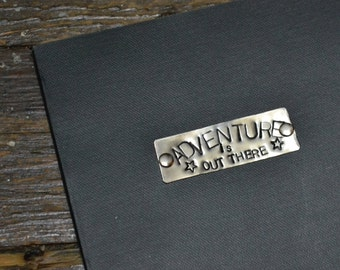 Adventure Is Out There, Lined Journal, 5.5x8.5 inch Notebook, Black, Handstamped Metal Book Plate, DIY Planner, Pocket Journal, Jotter