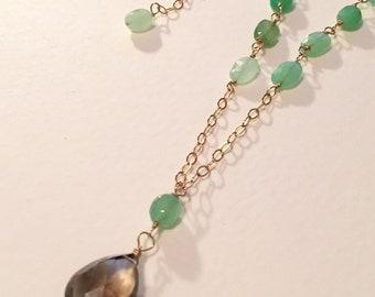Chrysoprase and Smoky Lemon Quartz Pendant Necklace by KarenWhalenDesigns