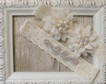 CUSTOMIZABLE Garter - Bridal Garter, Wedding Garter Set, Stretch Lace Garter, Rhinestone Crystal Bridal Garter, Pearl Garter, Flower Garter