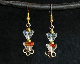 Czech Glass Flower Dangle Earrings