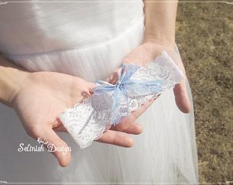 Something Blue Lace Garter, Light Blue Wedding Garter, Bridal Garters, Blue Wedding Garter- Style: G154lace