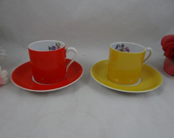 Midcentury Modern Cappuccino Espresso  Demitasse Teacup and Saucer set - Made in Hungary Hungarian Tea Cup