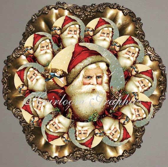 Christmas santa tags 2 5 inch vintage santa tags holiday tags old