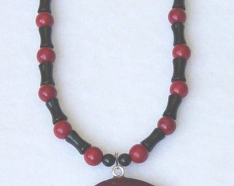 Red Jasper Bear Necklace with Bamboo Onyx