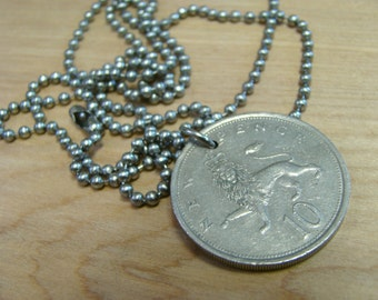 New Pence with Lion and Elizabeth II - Foreign Coin Necklace with Stainless Steel Ball Chain - Double Sided