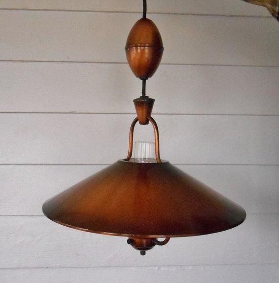 Sale Vintage Copper Hanging Light Fixture Country Kitchen