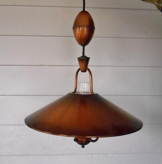 Sale Vintage Copper Hanging Light Fixture Country Kitchen