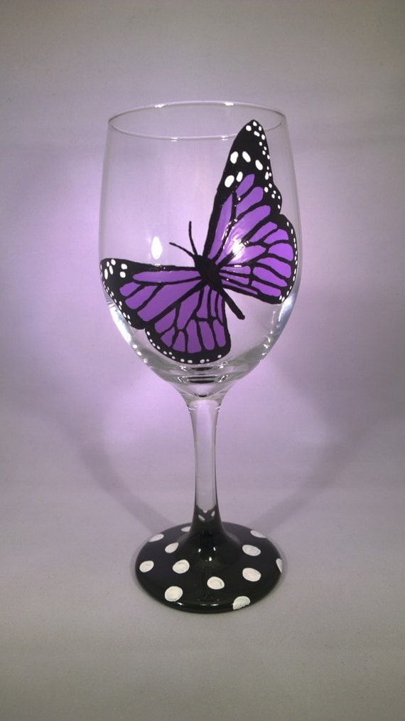 Purple monarch butterfly hand painted wine glass for How do i paint glass