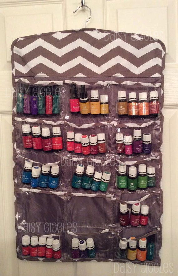 Taupe Chevron Hanging Organizer Storage For Essential Oils