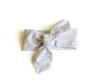 Baby Headband || Organic Cotton Headband || Herringbone Grey || Organic Cotton Headband