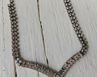 Rhinestone Necklace/Rustic Wedding/Minimalist Necklace/Choker Necklace/Party Necklace/40's/50's Necklace/Retro Necklace/Glam Necklace/Simple