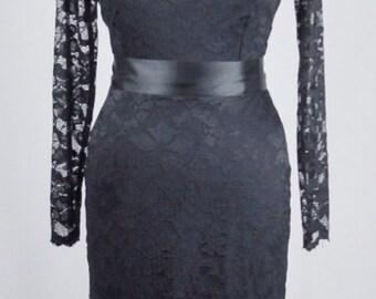Baylis & Knight Black Lace Long Sleeve Slash Boat Neck Princess Kate Middleton Wiggle Knee Dress Dita Burlesque