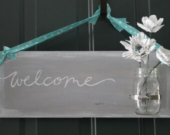 Grey and Aqua Welcome Door Hanger