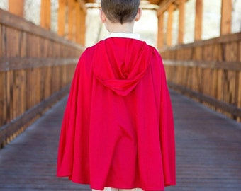 Hooded Red or Blue Cape - Boy, Girl, Toddler Birthday Gift Cosplay Costume - RingMaster, Prince, Pirate Fantasy - Super Hero Photo Prop Cape