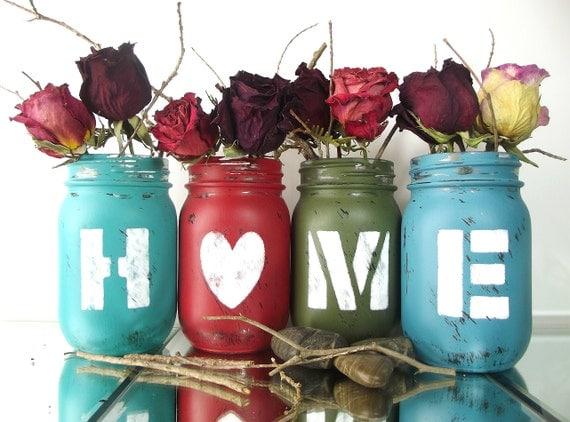 HOME, Country Home Decor, Mason Jar Decor, Colored Mason Jars, Rustic Country Home Decor, Rustic Chic Decor, Cabin Decor, Tabletop Decor