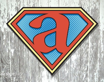 "Superhero Initial ""A"" Sign Large 26""X20"" DIY Printable Instant Download"