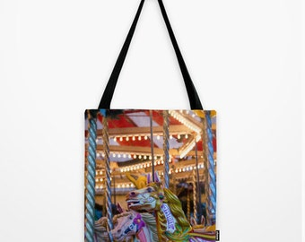 tote bag, totebag, horse bag, photo bag, carousel photo, shopping bag, equine photo