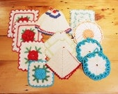 Hot Stuff… Lot of 13 Vintage Crocheted Potholders / Hot Pads… Vintage Kitchen Décor, Instant Collection