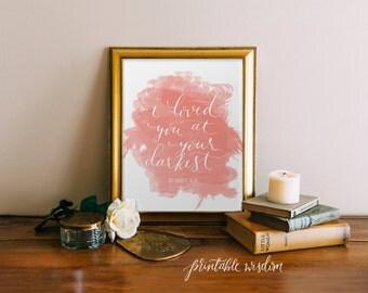 Bible Verse Print, Printable scripture art wall art decor watercolor calligraphy Romans 5:8, typographic print calligraphy, printable wisdom