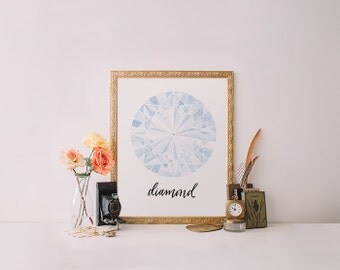 Watercolor Jewel Diamond print, Printable Wisdom wall art print, printable art, calligraphy print watercolor art, gemstone print