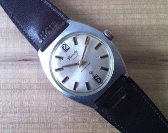 Vintage Men's Watch, Gandy Men's Chunky Case Swiss Watch, Brushed Stainless Cushion Case, Champagne Dial, Sub Seconds Dial, FREE SHIPPING