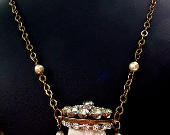 10% off on this item - Sweet frozen Charlotte crowned in rhinestones necklace