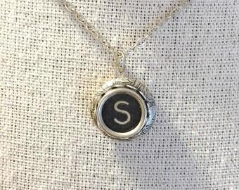 Vintage Typewriter Key Locket Necklace