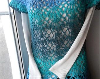 Crochet Dress Crochet tunic Crochet Vest Crochet Pullover Crochet Sweater  Aqua Minerale   FREE SHIPPING