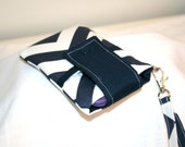 Dark Blue Chevron Cell Wallet or Crossbody Bag, iPhone 6,6Plus, Large Cell Phone bag, iPod Bag, Interchangeable Straps