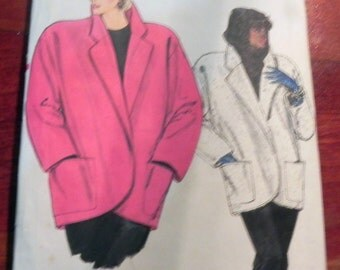 1980s Oversized Coat Jacket with Dropped Shoulders sewing pattern Vogue 9140 Size 8 10 12  Bust 31.5 32.5 34