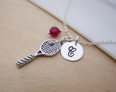 Tennis Racquet Charm Swarovski Birthstone Initial Personalized Sterling Silver Necklace / Gift for Her