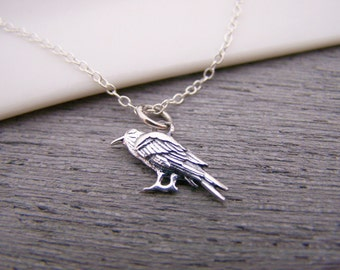 Tiny Sterling Silver Raven / Crow Charm Necklace Simple Jewelry Everyday Necklace / Gift for Her