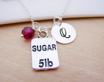 Sugar Charm Swarovski Birthstone Initial Personalized Sterling Silver Necklace / Gift for Her