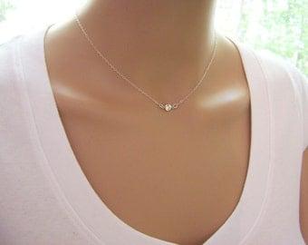 Tiny Diamond Necklace - CZ Necklace - Sterling Silver Tiny Necklace - Dainty Necklace - Everyday Jewelry - Simple Jewelry - Choker Necklace