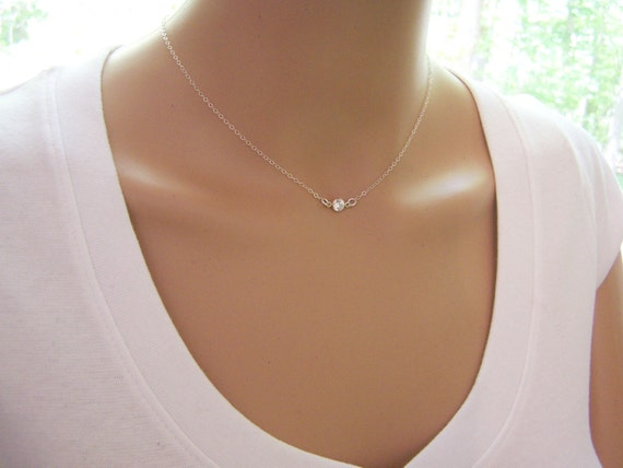 Tiny Diamond Necklace - CZ Necklace - Sterling Silver Necklace - Dainty Necklace - Simple Jewelry - Choker Necklace - Gift for Her