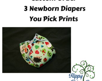 Design Your Own Newborn AI2 Set of Three Diapers - New Prints Added